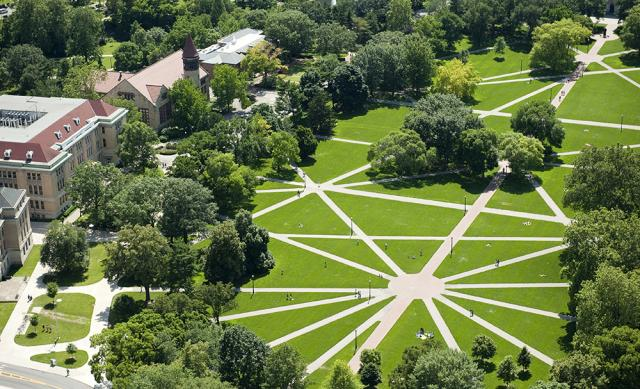 An aerial view of Ohio State's Oval