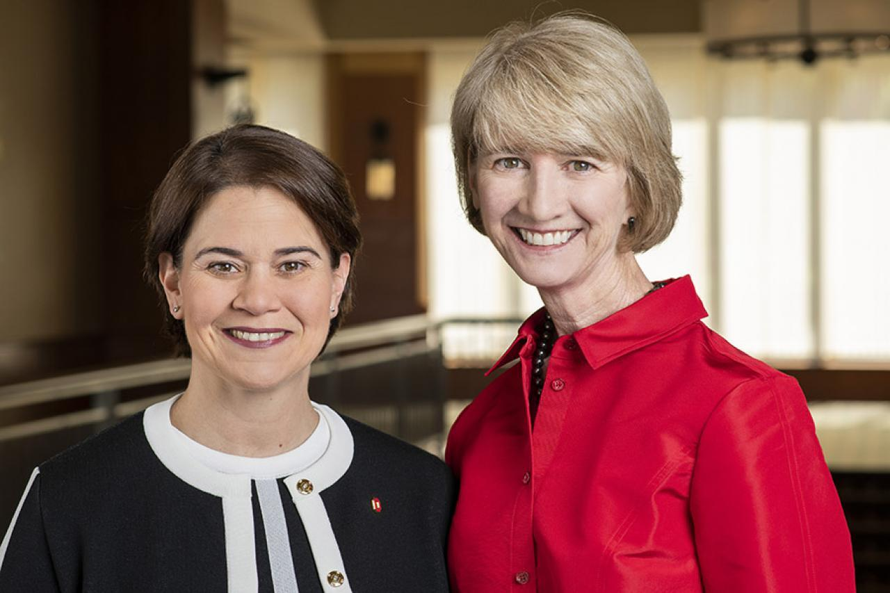 Photo of Ohio State President-elect Kristina Johnson and her wife, Veronica Meinhard