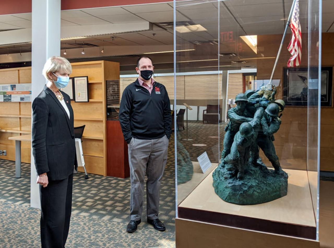 Image of Ohio State President Kristina Johnson touring Page Hall