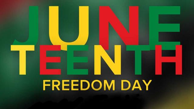 Graphic that reads Juneteenth Freedom Day